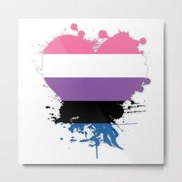 Genderfluid Heart Metal Print