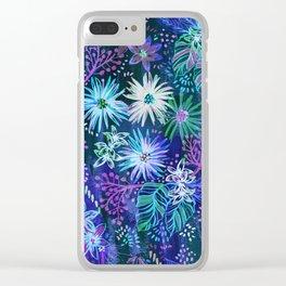 Eden Floral Blue Clear iPhone Case