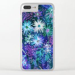 Eden Floral Blue Clear iPhone Case
