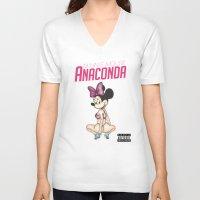 minaj V-neck T-shirts featuring Minnie Minaj Anaconda  by J. Neto