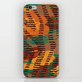 Abstract orange jade brown safari geometrical print iPhone Skin