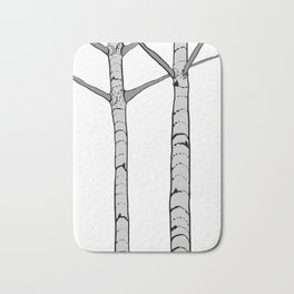 Poplar Tree Illustrated Print Bath Mat