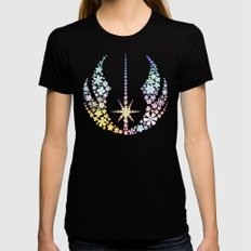 Multicolored Floral Jedi Symbol on Purple SMALL Womens Fitted Tee Black