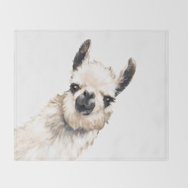 Sneaky Llama White Throw Blanket