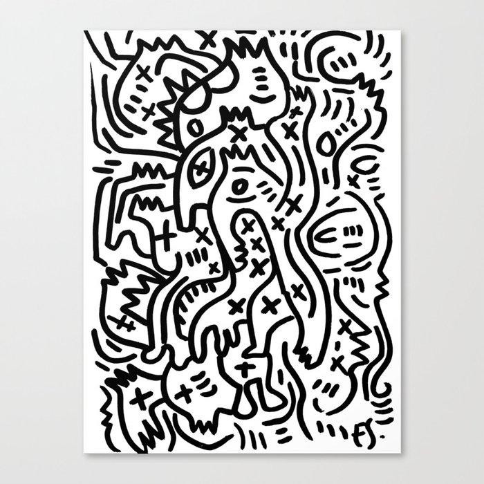 Graffiti Street Art Black and White Leinwanddruck