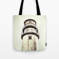 cape cod Tote Bags featuring cape cod lighthouse by marie grady palcic