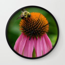 Coneflower with Bee Wall Clock