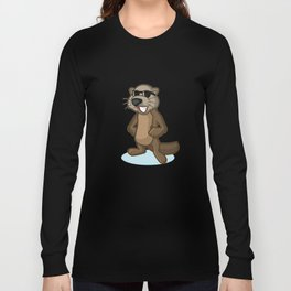 Dark Brown Sea Otter Mascot Long Sleeve T-shirt