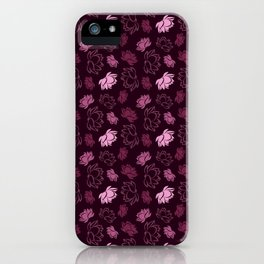 Lotus flower pattern with burgundy glitter iPhone Case
