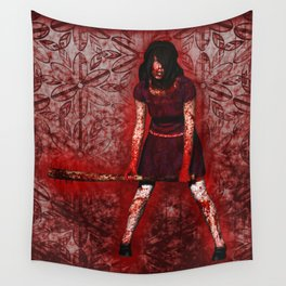Linda - Blood-Soaked, Holding Bat Wall Tapestry