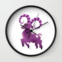 aries Wall Clocks featuring Aries! by Yetiland