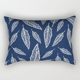 Dark blue and white falling feathers Rectangular Pillow