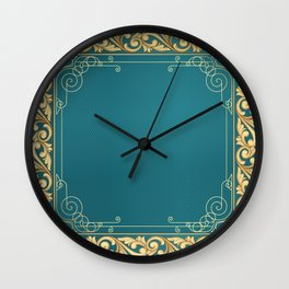 teal and gold belle époque pattern Wall Clock