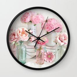 Shabby Chic Pastel Peonies Roses Bottle Jar Prints Floral Home Decor Wall Clock