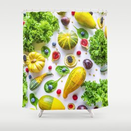 Fruits and vegetables pattern (1) Shower Curtain