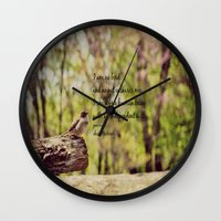 jane eyre Wall Clocks featuring I Am No Bird Jane Eyre Charlotte Bronte Quote by KimberosePhotography