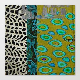 Teal & Olive Abstract Art Collage Canvas Print