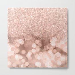 Modern rose gold glitter ombre pink rose gold bokeh sparkles Metal Print