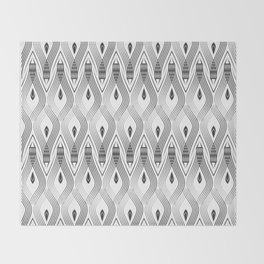 Art Deco 56 . black and gray spiral . Throw Blanket