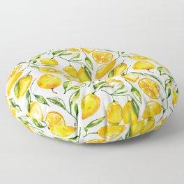 lemon watercolor print Floor Pillow