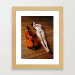 0137-JC Nude Cellist with Her Cello and Bow Naked Young Woman Musician Art Sexy Erotic Sweet Sensual Framed Art Print