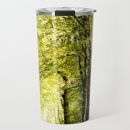 A pathway covered by leaves in a magical forest Travel Mug