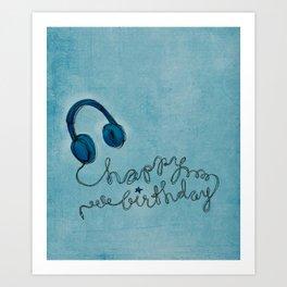 Headphone Happy Birthday Art Print