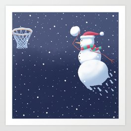 Dunking Snowman Art Print