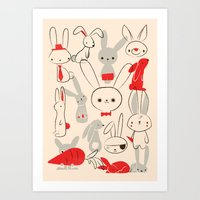 bunnies Art Prints featuring Bunnies by Jay Fleck