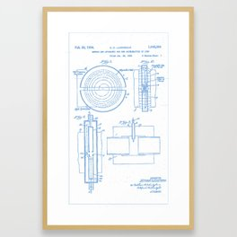 Apparatus for the Acceleration of Ions (Cyclotron!) Ernest O. Lawrence (1934) BluePrint Drawing 2 Framed Art Print