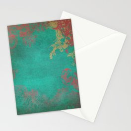 Grunge Garden Canvas Texture:  Pink and Turquoise Floral Stationery Cards
