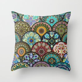Colorful floral seamless pattern from circles with mandala in patchwork boho chic style Throw Pillow
