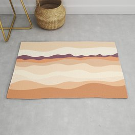 Abstract Nature painting, Orange beige violet Decorative hills mountains, Pastel colors, Rug