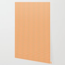 Classic Pumpkin Orange and White Gingham Check Pattern Wallpaper