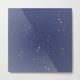 Navy and Gold Speckled Pattern Metal Print