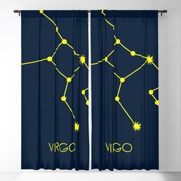VIRGO (YELLOW-NAVY BLUE STAR SIGN) Blackout Curtain