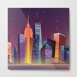 Gotham City at Night - Kitschy Cartoon New York City Manhattan Metal Print