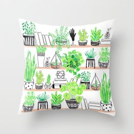 Plant shelfie Throw Pillow
