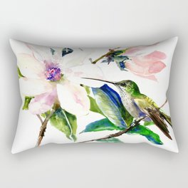 Hummingbird and Magnolia Flowers, Green Soft Pink floral design vintage style Rectangular Pillow