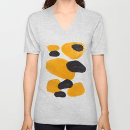 Mid Century Abstract Black & Yellow Fun Pattern Floating Mustard Bubbles Cheetah Print Unisex V-Neck