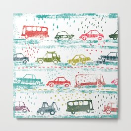 cars in the rain Metal Print