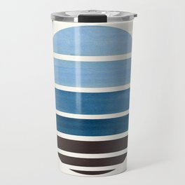 Blue Green Mid Century Modern Minimalist Circle Round Photo Staggered Sunset Geometric Stripe Design Travel Mug