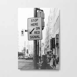 Traffic signs streets scene black and white Metal Print