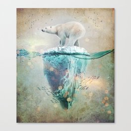 Polar Bear Adrift Canvas Print