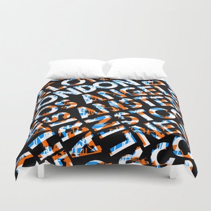 London City Names Text Design Orange Blue Duvet Cover
