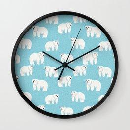 Polar Bear pattern cute animals print for kids room decor boys and girls nursery Wall Clock