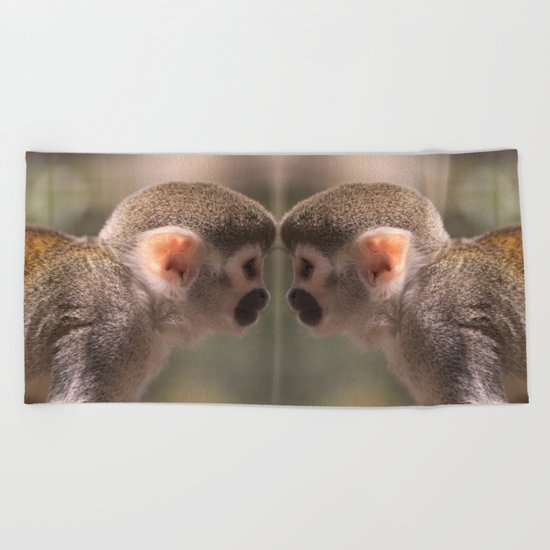Mirror monkeys Beach Towel