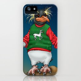 Rockhopper Penguin in Ugly Christmas Sweater iPhone Case