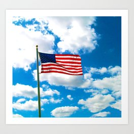 American Flag in Big Blue sky Art Print