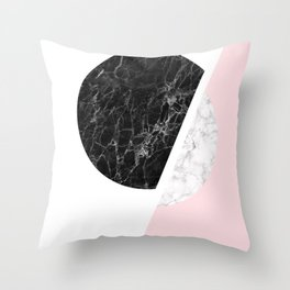 Modern Minimalist Black And White Marble Art, Scandinavian Minimalism, Large Print Wall Art Decor Throw Pillow